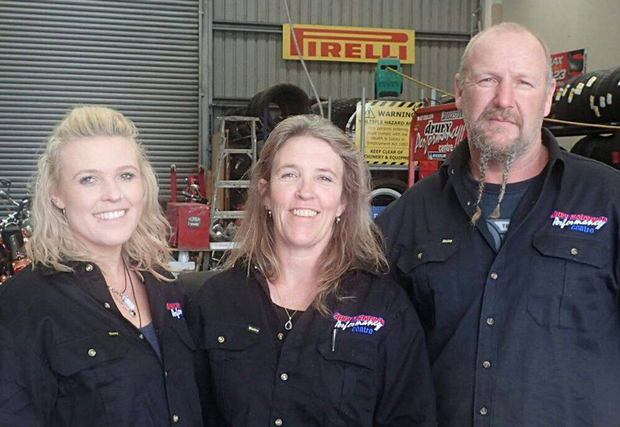 Emerald, Aida and Des of Drury Motorcycle Performance Centre